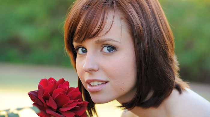 face, redhead, girl, FTV Girls Magazine, flowers, open mouth, portrait, girl outdoors, short hair, blue eyes, Hayden Winters, pornstar, looking at viewer