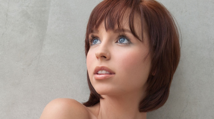 short hair, girl, redhead, face, looking up, blue eyes, Hayden Winters, pornstar, simple background, portrait, open mouth, bare shoulders