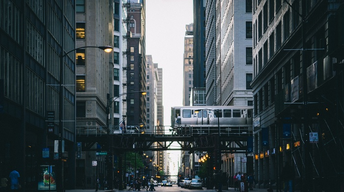 Chicago, metro, vehicle, vignette, street, cityscape, train