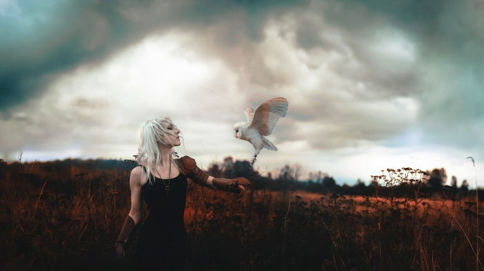 girl, white hair, owl