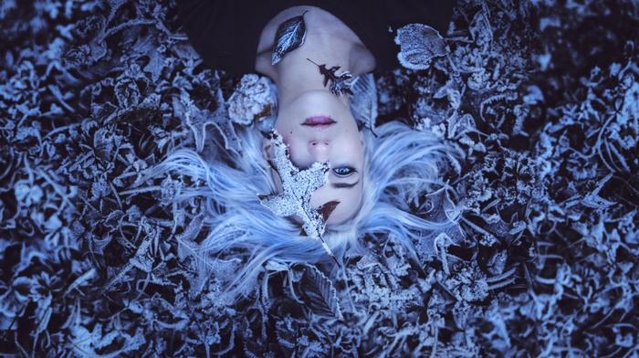 girl, white hair, blue eyes, winter, lying on back, leaves, frost