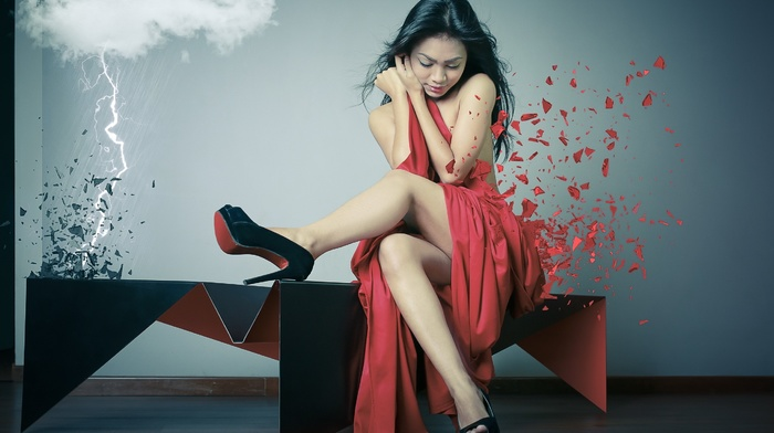 lightning, bare shoulders, legs, girl, sitting, red dress, Asian, high heels, photo manipulation, Louboutin