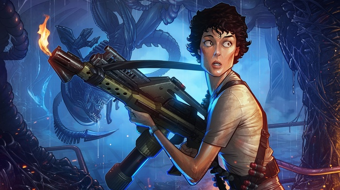aliens, Patrick Brown, Aliens movie, flamethrowers, drawing, artwork, Ellen Ripley, fantasy art