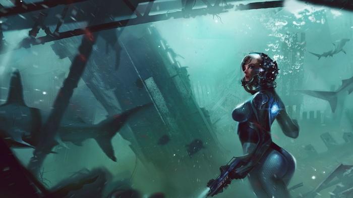 science fiction, underwater, shark, diving suits, digital art, futuristic, exploration, artwork