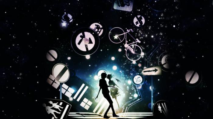 monogatari series, anime, Hachikuji Mayoi, signs, Araragi Koyomi, silhouette, arrows, anime girls