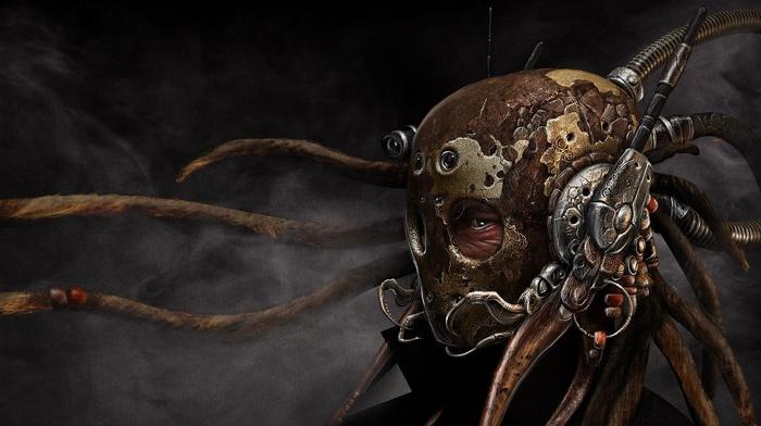 digital art, dreadlocks, futuristic, smoke, lens, steampunk, antenna, mask
