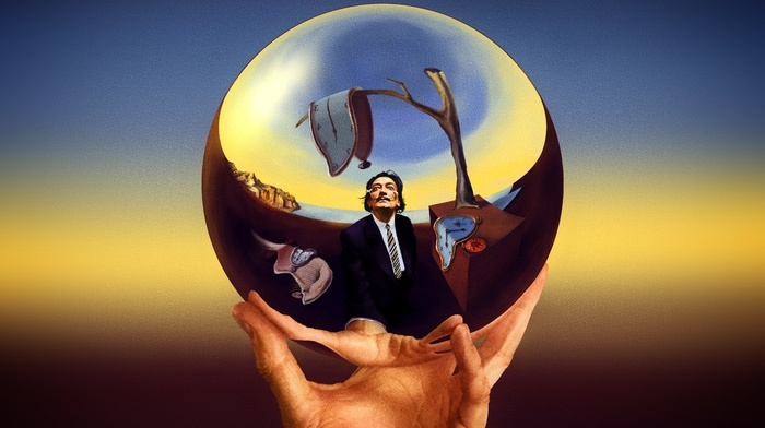 painters, hands, reflection, Salvador Dal, M. C. Escher, men, clocks, fingers, artwork, self portraits, moustache, digital art, surreal, trees, crossover, 3D, sphere
