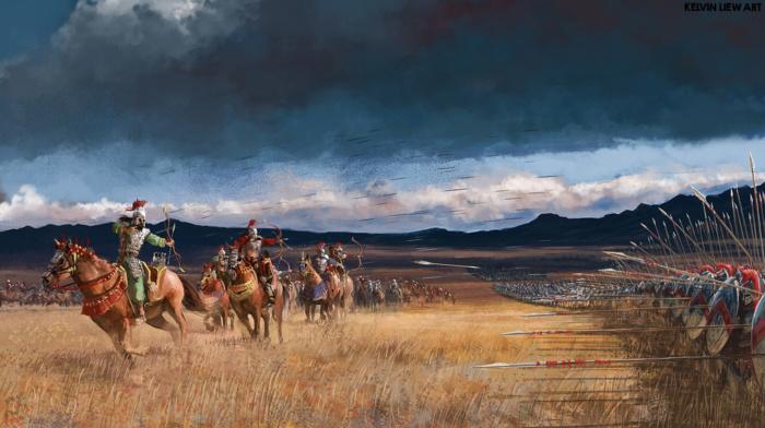 Archer, battle, spear, war horse, soldier