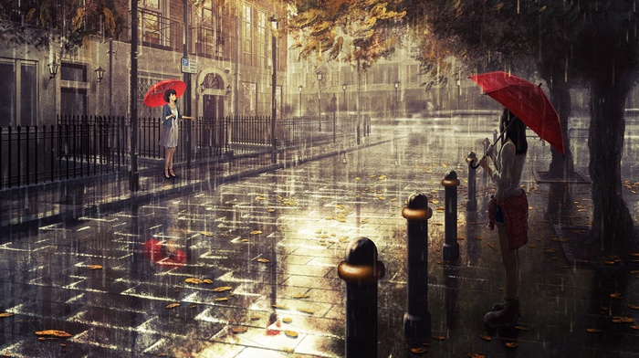 artwork, umbrella, London, rain, fall, original characters