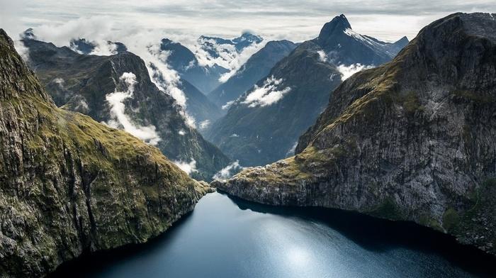 mountains, river, lake, snow