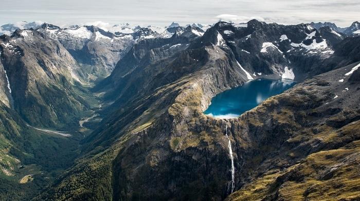 river, landscape, lake, waterfall, snow, mountains