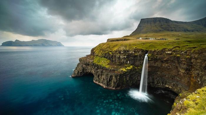 landscape, waterfall, water, clouds