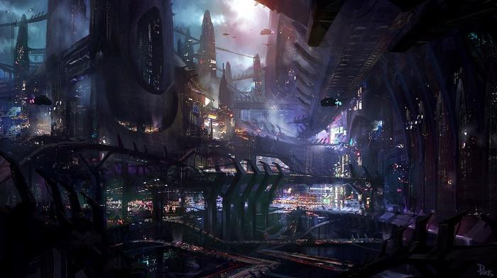science fiction, city, artwork, futuristic, james paick, concept art, fantasy art