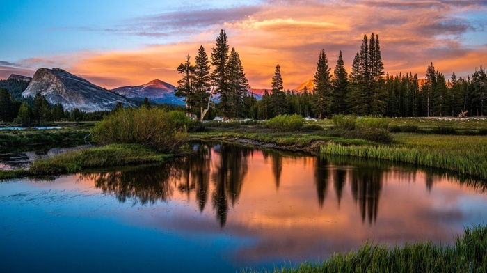 lake, trees, sunset, landscape, mountains