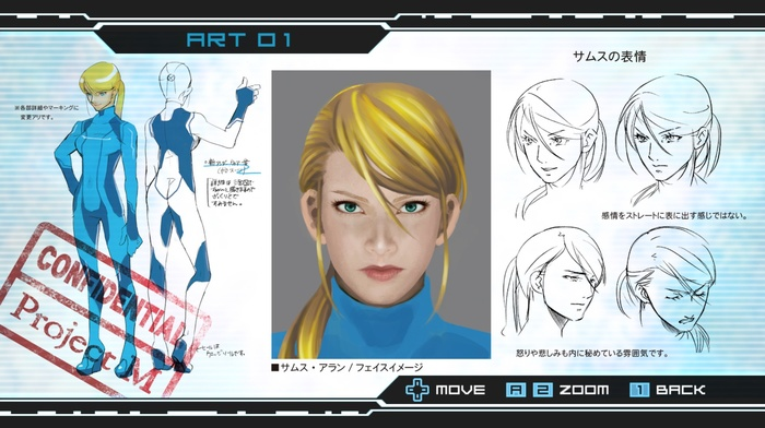 Samus Aran, metroid, sketches, Other M, concept art