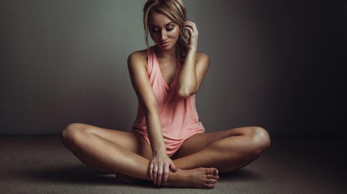 tank top, blonde, no bra, tanned, sitting, feet, spread legs, girl
