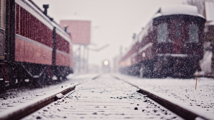 snow, depth of field, winter, railway, train