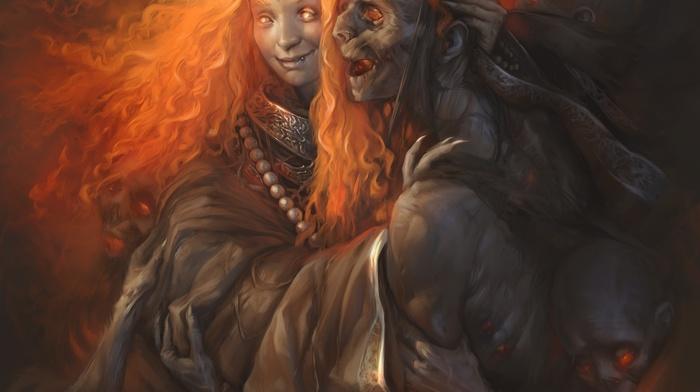 dead, artwork, redhead, fantasy art, demon