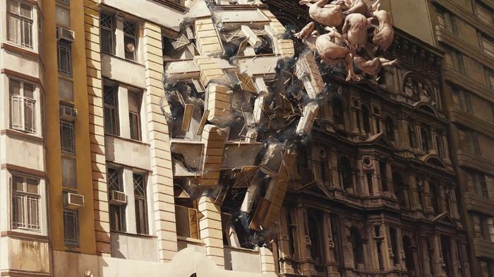 explosion, science fiction, artwork, destruction, surreal, people, floating, building