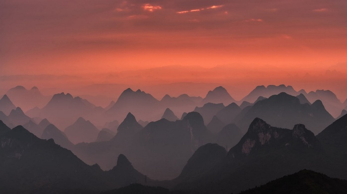 Guilin, sky, national park, mountains, pink, nature, landscape, China, mist