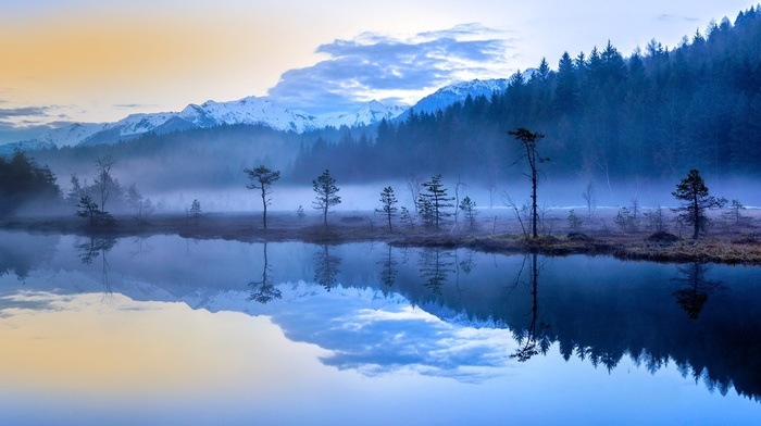 mountains, Italy, snowy peak, reflection, landscape, lake, nature, water, forest, blue, mist