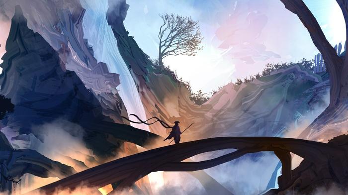 samurai, mist, fantasy art, mountains