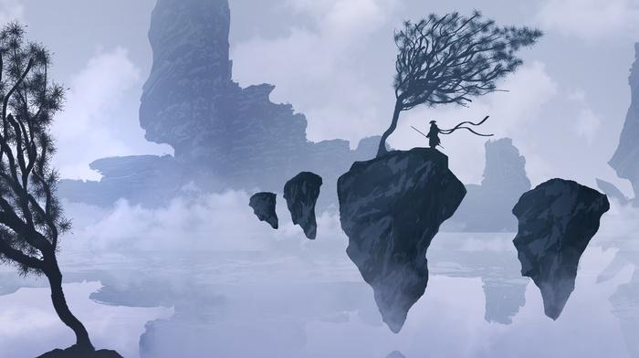 mist, rock, mountains, silhouette, fantasy art, samurai, floating