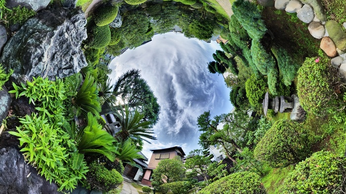 garden, HDR, plants, trees, palm trees, house, rock, nature, panoramic sphere, stones, clouds, fisheye lens, landscape