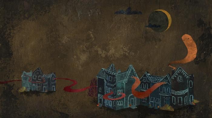 ghost, clouds, simple background, night, simple, digital art, artwork, house, drawing, moon