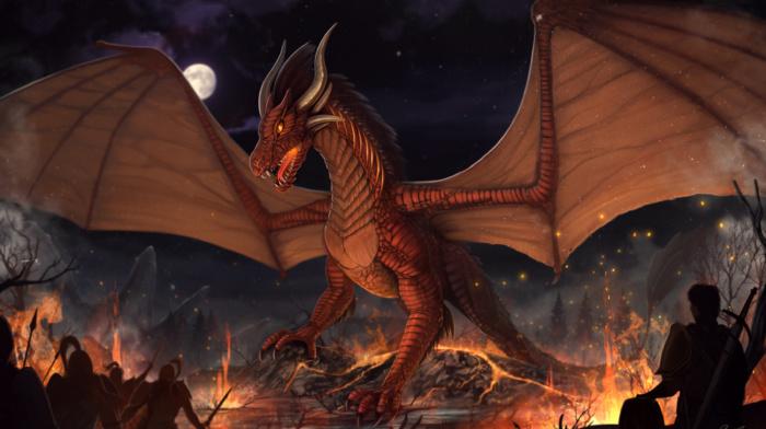 soldier, fantasy art, dragon