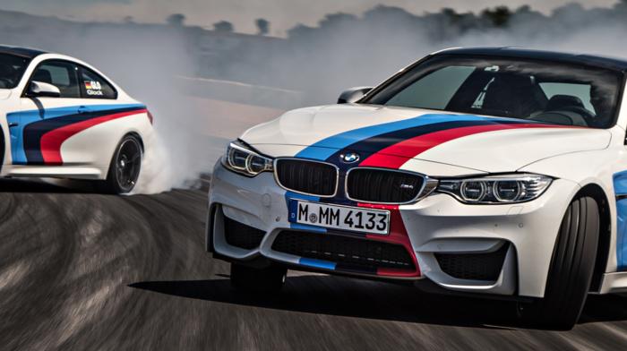 race tracks, motion blur, Drifting, vehicle, smoke, BMW M4, car, multiple display, dual monitors
