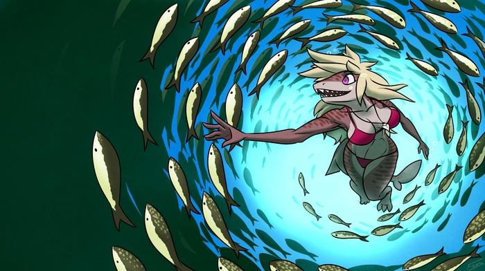 Anthro, swimming, furry, shark