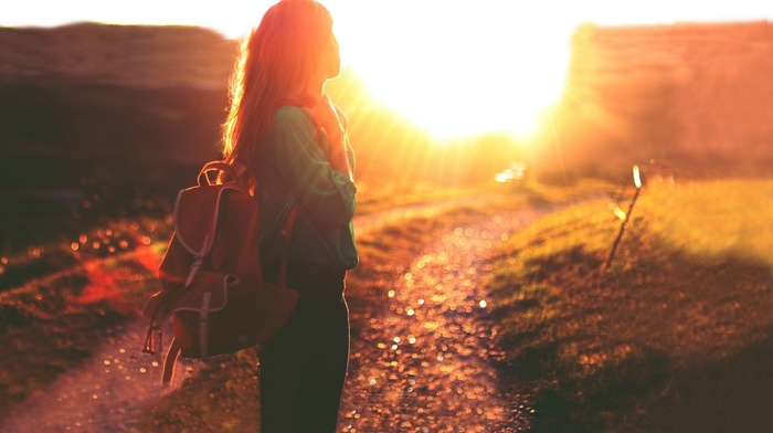 dirt road, path, girl, girl outdoors, Golden Hour, sunlight, backpacks, looking away, bokeh