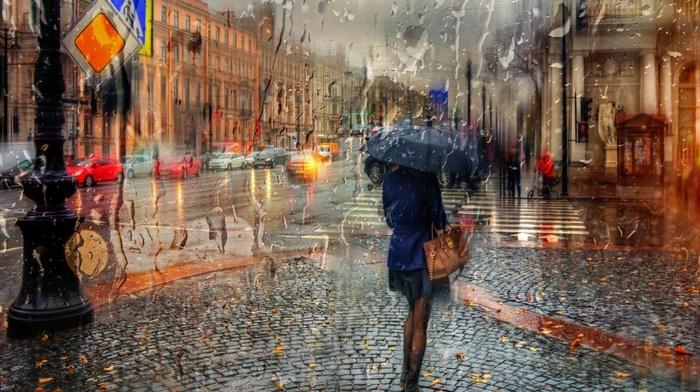 car, glass, traffic lights, city, tiles, girl, building, rain, water drops, architecture, umbrella, skirt, old building, street, blurred