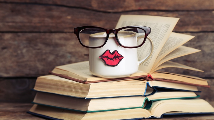 glasses, lips, photography, cup, books