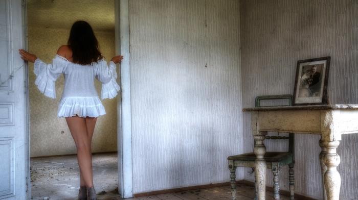 interior, girl, model