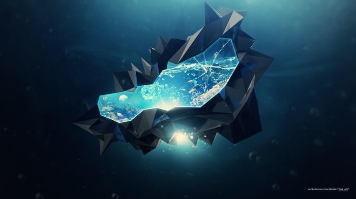 bubbles, lacza, abstract, digital art, 3D, crystal
