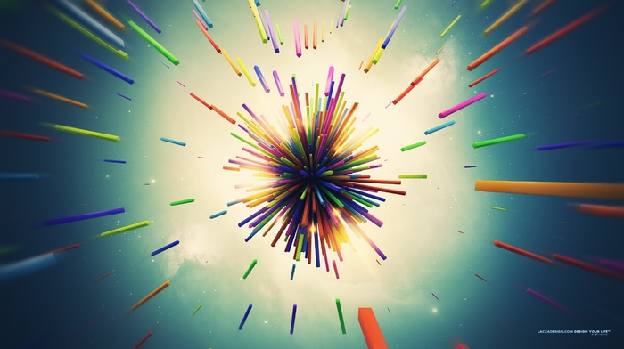 digital art, lacza, shapes, explosion, colorful, 3D, abstract