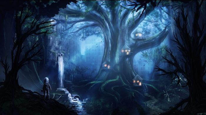 artwork, night, fantasy art, forest