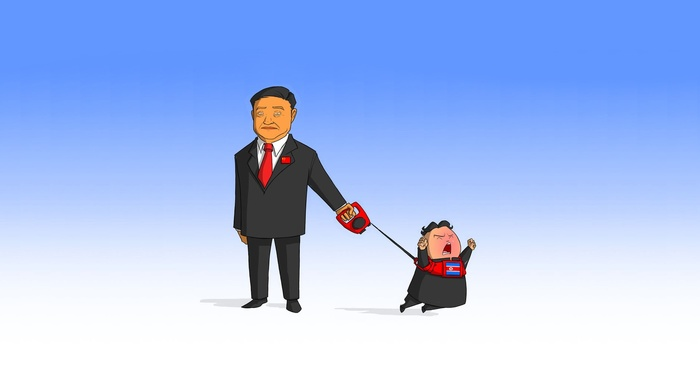 cartoon, leash, North Korea, China