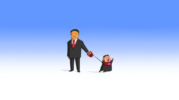 China, cartoon, North Korea, simple background, leash