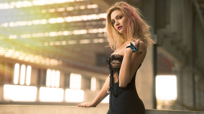blonde, portrait, girl, black dress