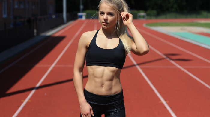 blonde, athletes, 6 packs, race tracks, ponytail, fitness model, sport, girl, girl outdoors, sports bra, yoga pants, abs, looking at viewer, sports, Maren Schiller