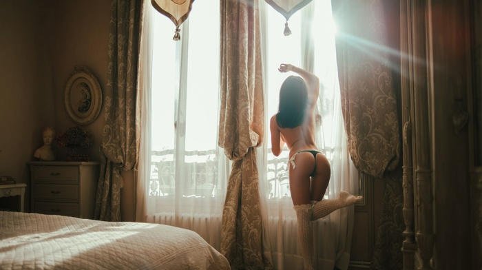 ass, brunette, panties, model, girl, bed, window, sunlight, lights