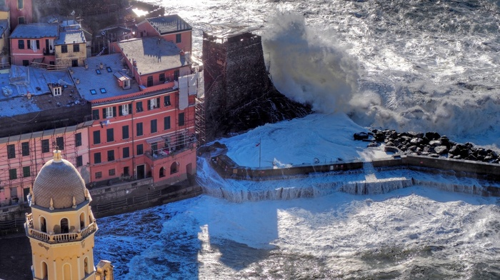 coast, Vernazza, waves, storm, Italy