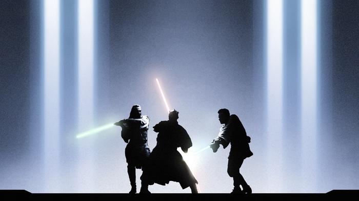 Sith, Darth Maul, lightsaber, jedi, movies, fighting, Star Wars The Phantom Menace, Obi, Wan Kenobi, Qui, Gon Jinn, Star Wars