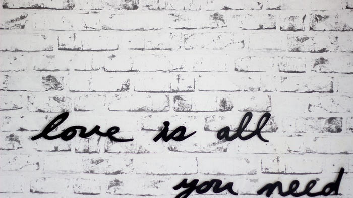 white, monochrome, lyrics, music, black, wall, text, bricks, The Beatles, love, quote