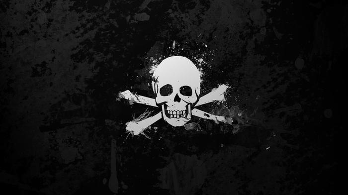 white, skull, simple, black, monochrome, simple background, skull and bones, bones, paint splatter