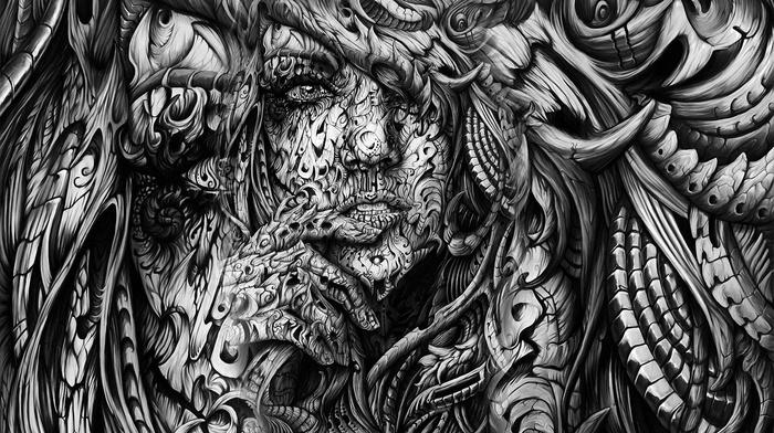 abstract, artwork, hands, open mouth, black, 3D, monochrome, white, digital art, face, girl