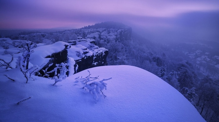 Czech Republic, cliff, snow, photography, landscape, trees, winter, nature, village, mist